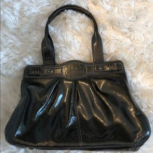 Coach Dark Grey patent leather purse